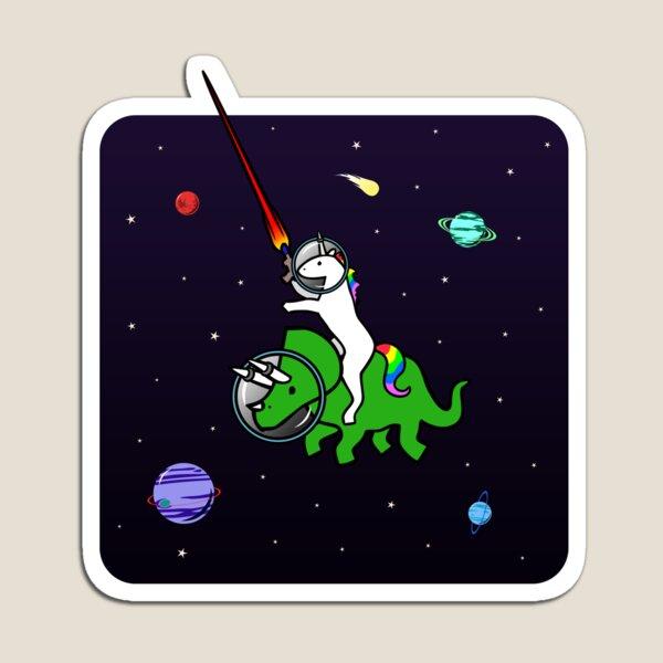 Unicornio montando Triceratops en el espacio Imán