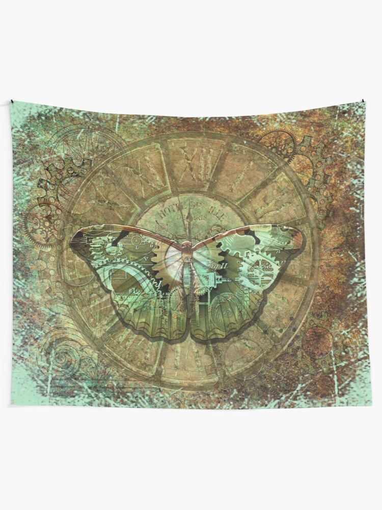 Alternate view of Steampunk Butterfly Distressed Tapestry