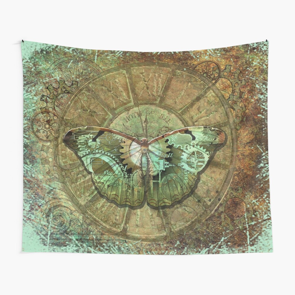 Steampunk Butterfly Distressed Wall Tapestry