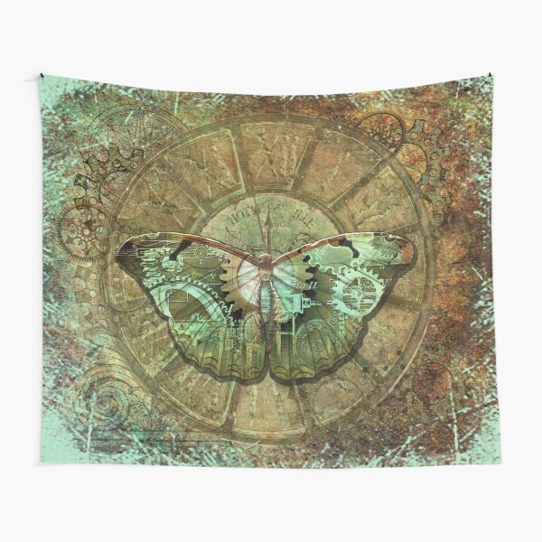 Steampunk Butterfly Distressed Tapestry