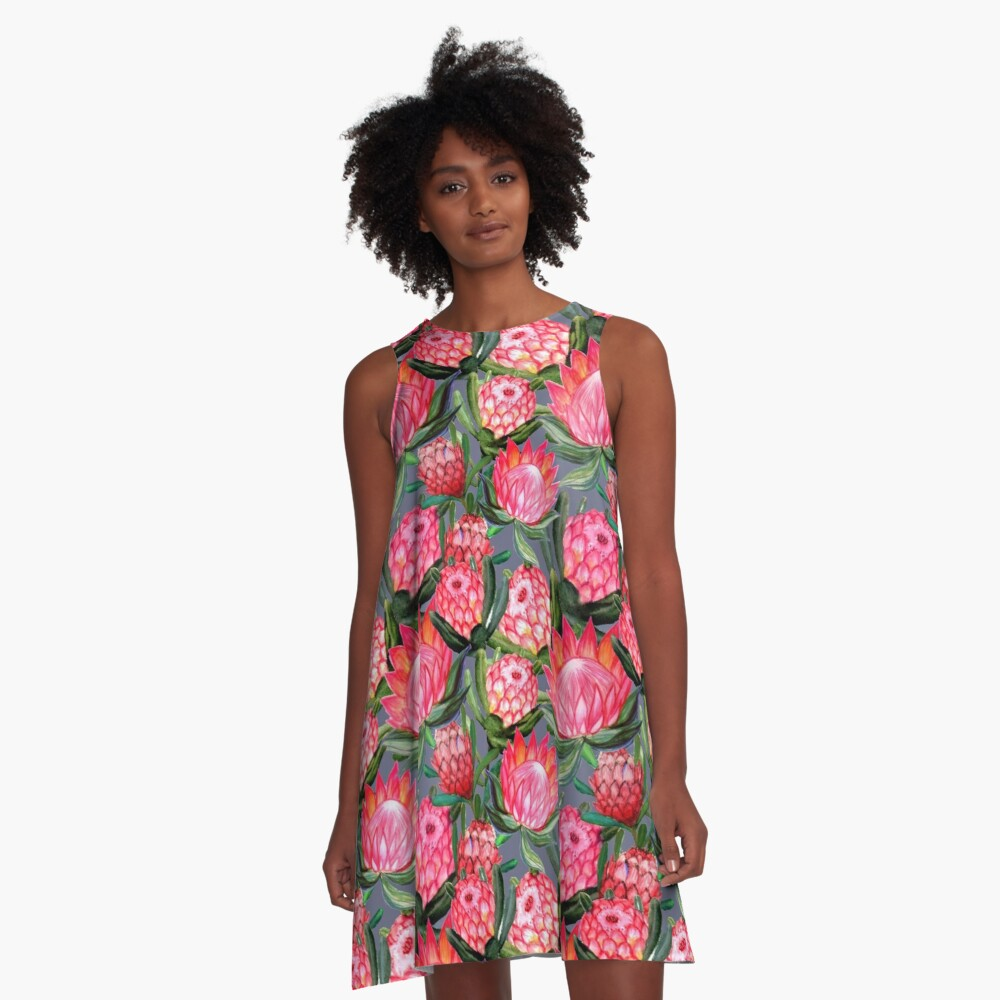 Protea flowers painted in watercolor – all over print – a riot of pink and bright color A-Line Dress Front