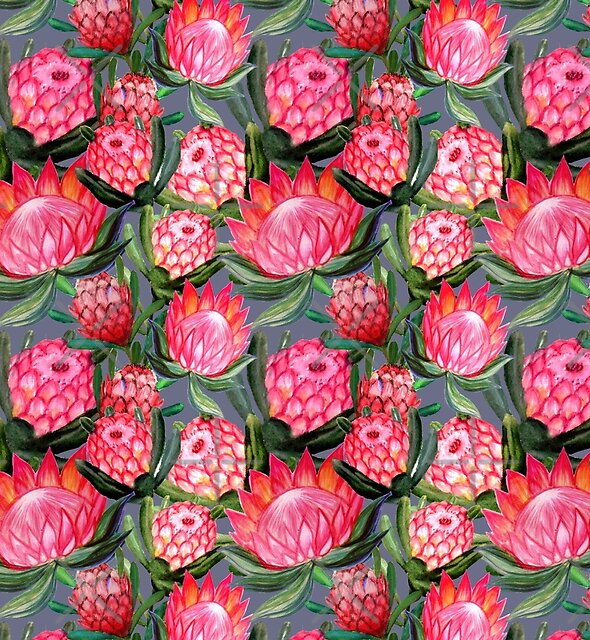 Protea flowers painted in watercolor – all over print – a riot of pink and bright color by MagentaRose