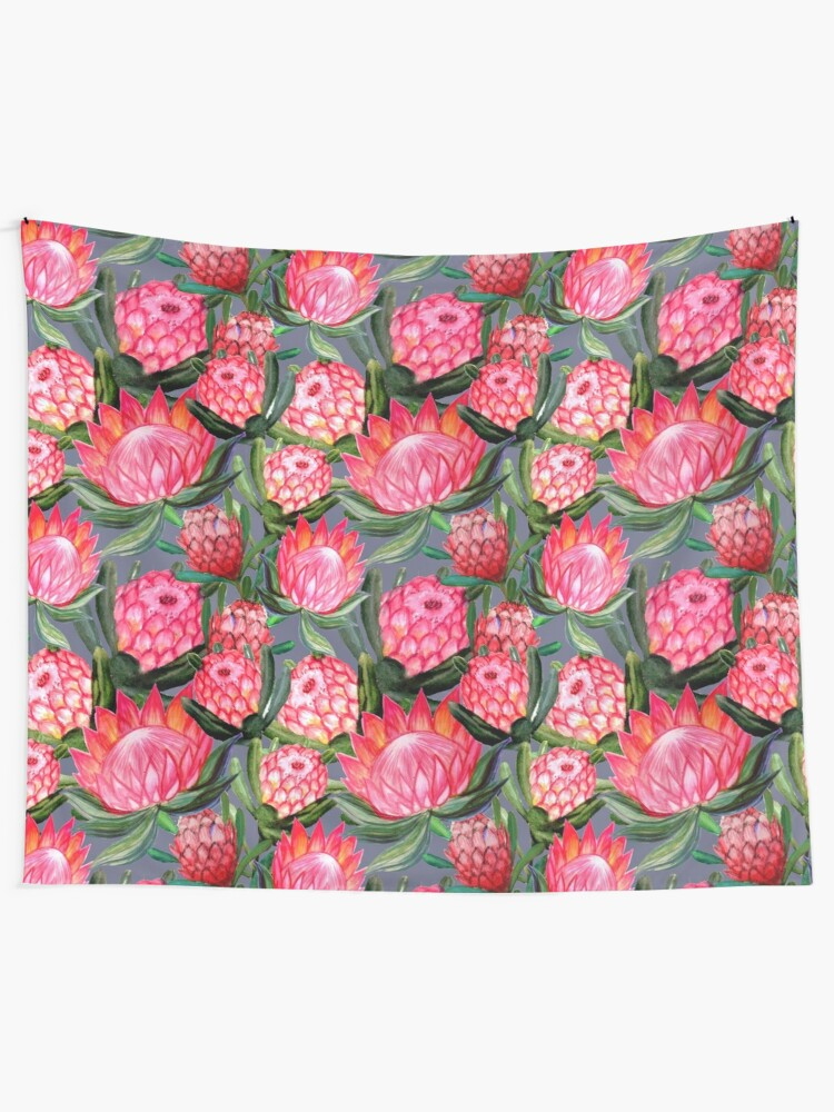 Alternate view of Protea flowers painted in watercolor – all over print – a riot of pink and bright color Tapestry