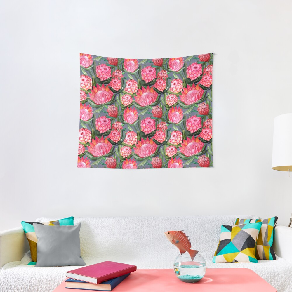 Protea flowers painted in watercolor – all over print – a riot of pink and bright color Tapestry
