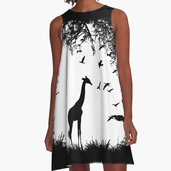 Giraffe & Landscape A-Line Dress