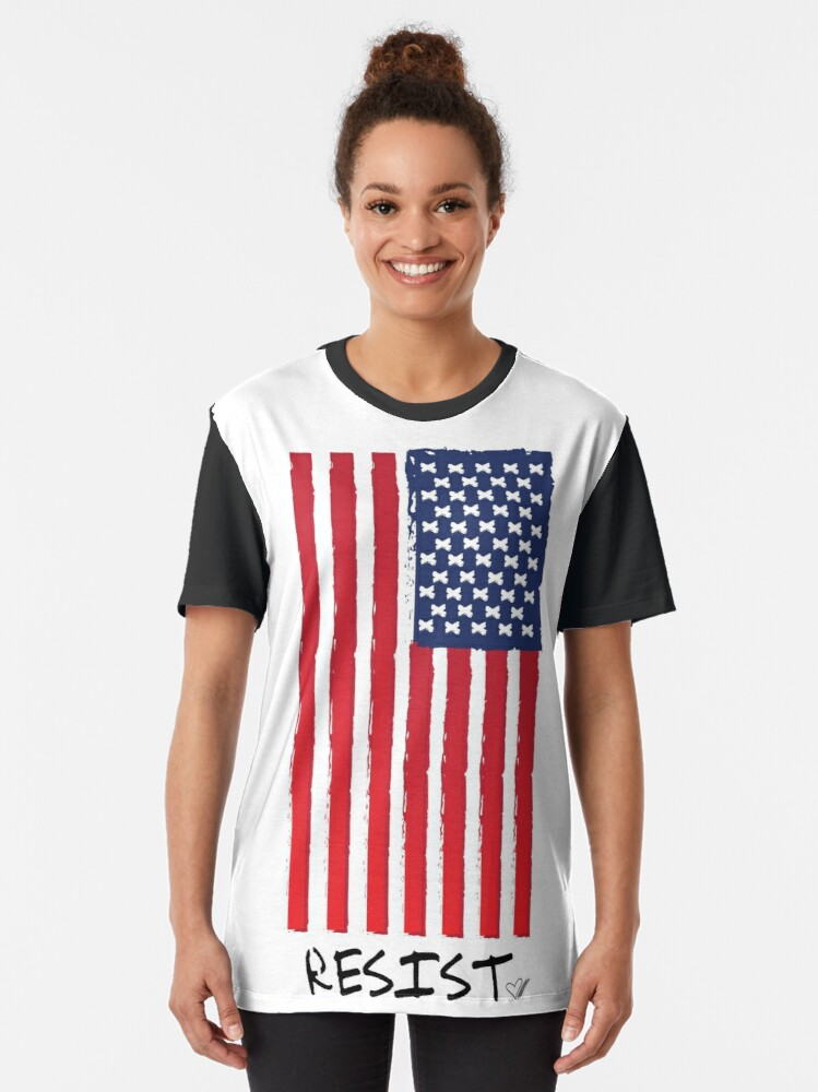 Alternate view of Resist (With Flag) -Graphic T-Shirt Graphic T-Shirt