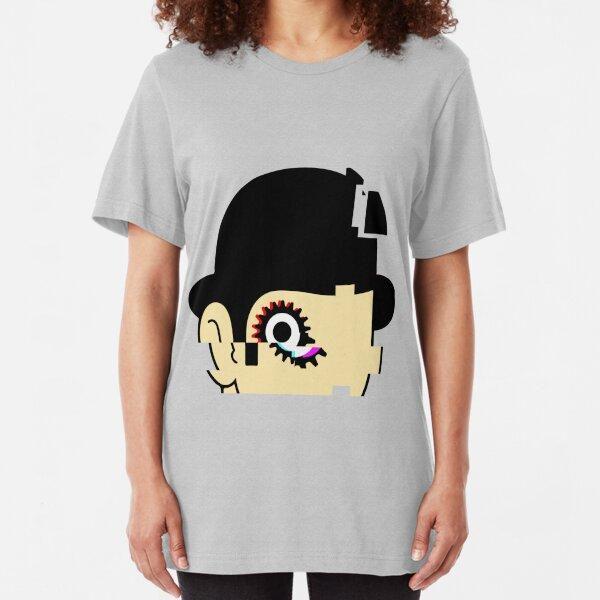 Mécaglitch orange T-shirt ajusté