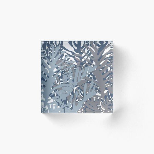 Palms 1 in Blue Acrylic Block