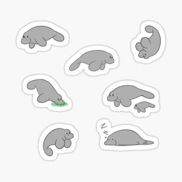 A friendly herd of Manatees Sticker