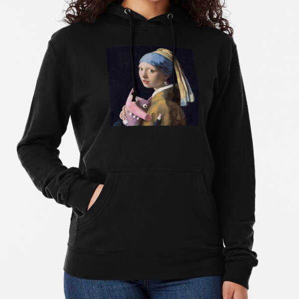Girl with a pig Lightweight Hoodie
