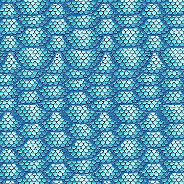 Teal Turquoise Mermaid Scales Pattern by Wiezo