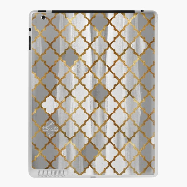 Moroccan Tile Pattern In Grey And Gold iPad Skin