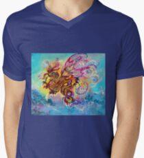 SEA DRAGON Pink Blue Fantasy Collection Men's V-Neck T-Shirt