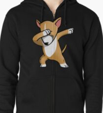 Funny Fawn English Bull Terrier Dabbing Zipped Hoodie