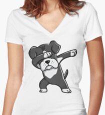 Camiseta entallada de cuello en V Divertido Black Boxer perro Dabbing