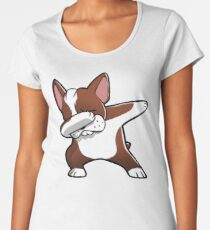 Funny Fawn Boston Terrier Dabbing Women's Premium T-Shirt
