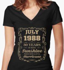 July 1988 Sunshine mixed Hurricane Women's Fitted V-Neck T-Shirt