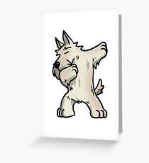 White Scottish Terrier Dabbing Greeting Card