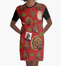 Snoop Dogg Iconography in Red Graphic T-Shirt Dress