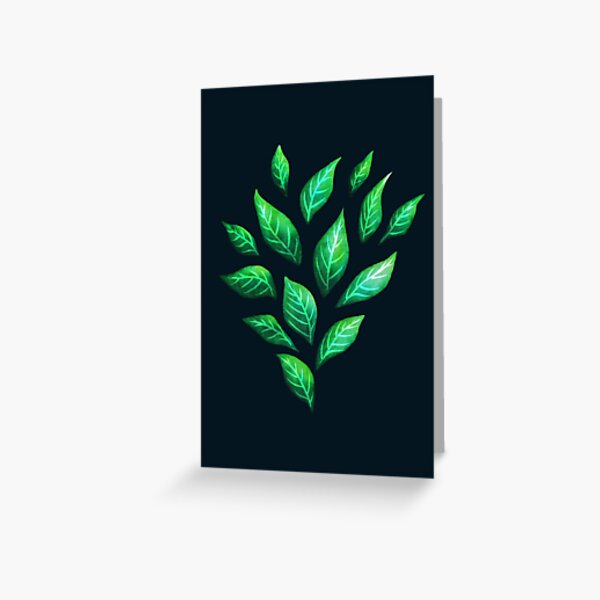 Dark Abstract Green Leaves Greeting Card
