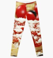 pizza with olives and cheese closeup Leggings