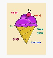 Yummy icecream with cherry and text vector Photographic Print