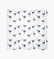 Blue Wrens, Scattered on White Scarf