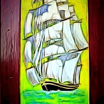 A Clipper Ship that I painted in acrylic on a Wooden Door, which I salvaged from the restoration of an old Catamaran 1843 by ZipaC