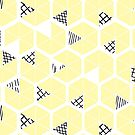 Honeycomb scratches - soft yellow by Pip Pottage