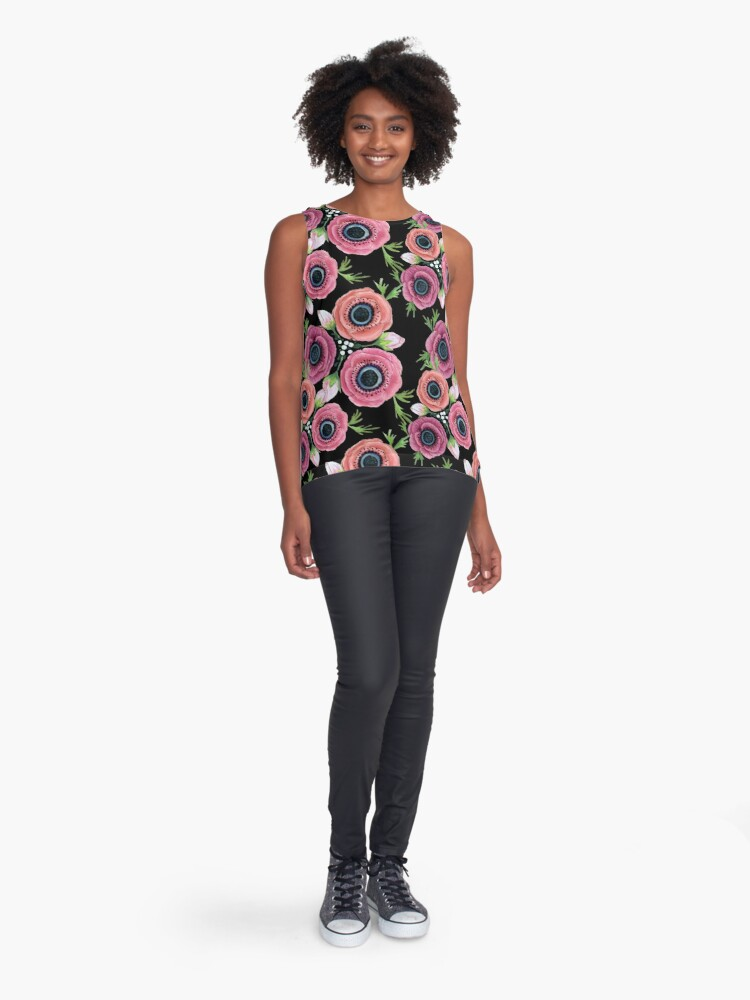 Alternate view of Anemone Floral Watercolor, botanical,  Sleeveless Top