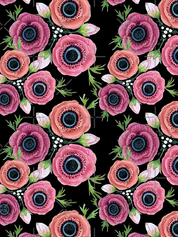 Anemone Floral Watercolor, botanical,  by MagentaRose
