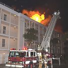 Ladder 1 at condo fire by Larry  Grayam
