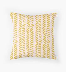 Mustard on Pink hand drawn herringbone Throw Pillow