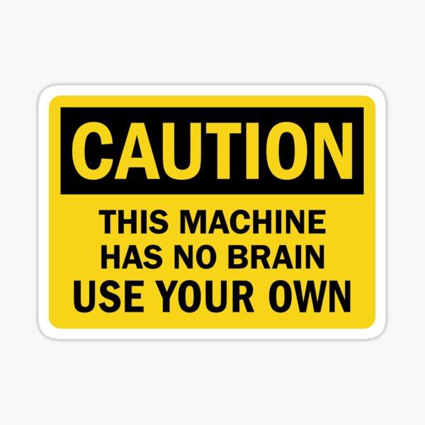 Brain Warning Sign Sticker