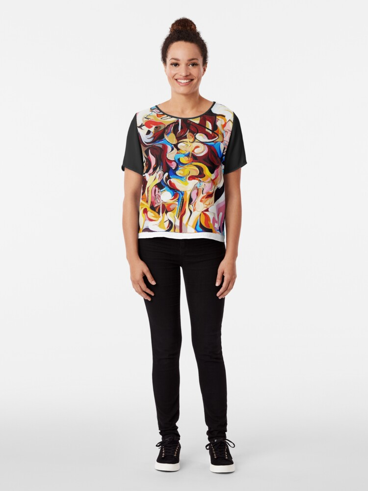 Alternate view of Expressive Abstract People Composition painting Chiffon Top