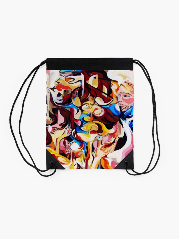 Alternate view of Expressive Abstract People Composition painting Drawstring Bag