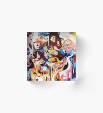 Expressive Abstract People Composition painting Acrylic Block