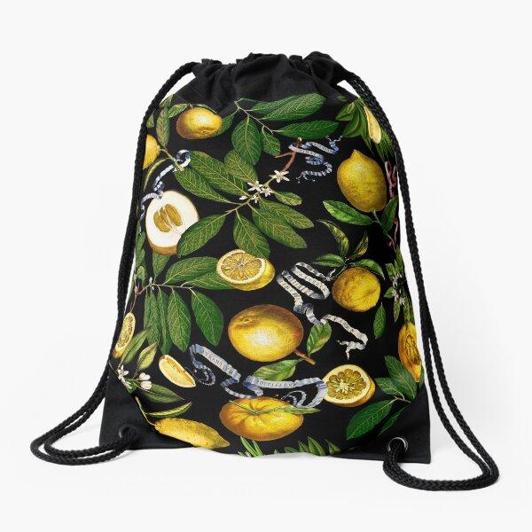 Lemon Tree - Black Drawstring Bag