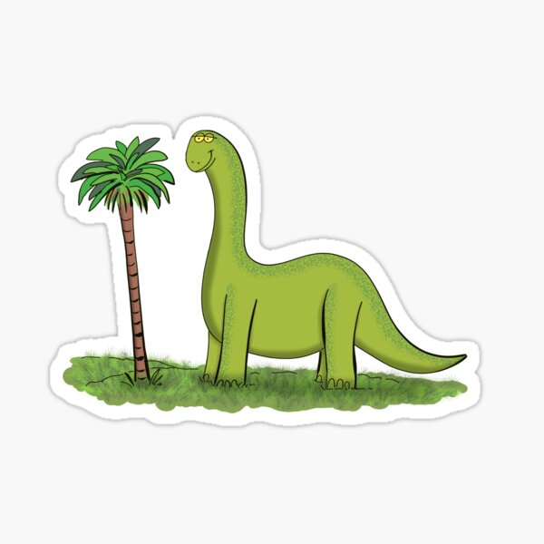 happy brontosaurus dinosaur cartoon Sticker