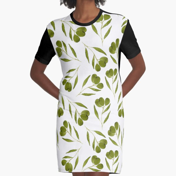 Watercolor olives with leaves  Graphic T-Shirt Dress