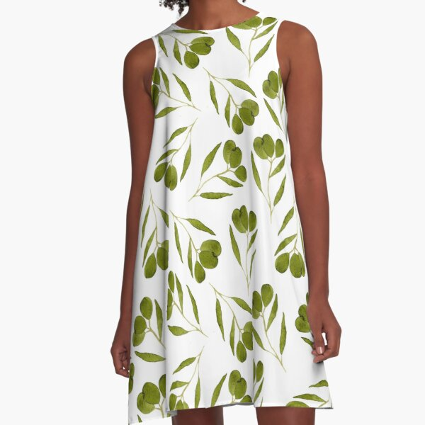 Watercolor olives with leaves  A-Line Dress