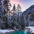 Magical sunset with turquoise river in Mojstrana, Slovenia by Patrik Lovrin