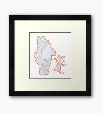 Bear and Pig Marble Silhouette Framed Print