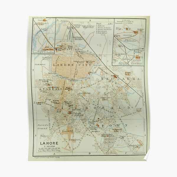 Historical map of Lahore Poster