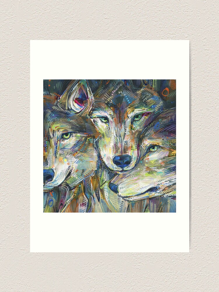 Alternate view of Gray Wolves Painting - 2012 Art Print