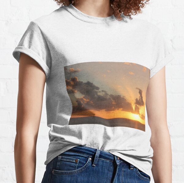 Nature Landscape Trees Forest Branch Leaves Morning Mist Plants Grass Ferns Womens 3//4 Sleeve Casual Scoop Neck Tops Tee