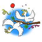 Funny party cockatoo birds cartoon by FrogFactory