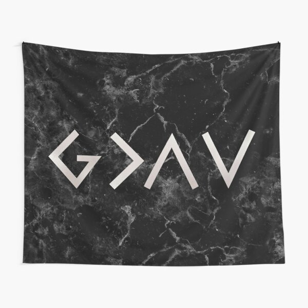 God is greater than the highs and lows - Christian Quote - Black Marble Tapestry