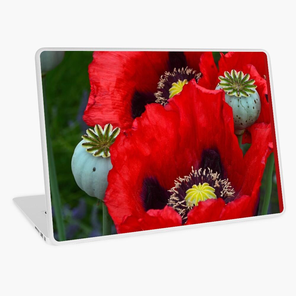 Red poppy flowers Laptop Skin