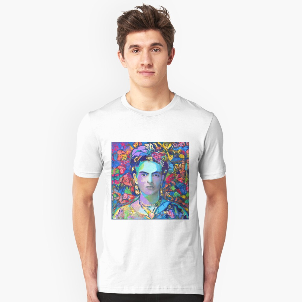 Frida In The Butterflies by RD Riccoboni - Red Frida Unisex T-Shirt Front